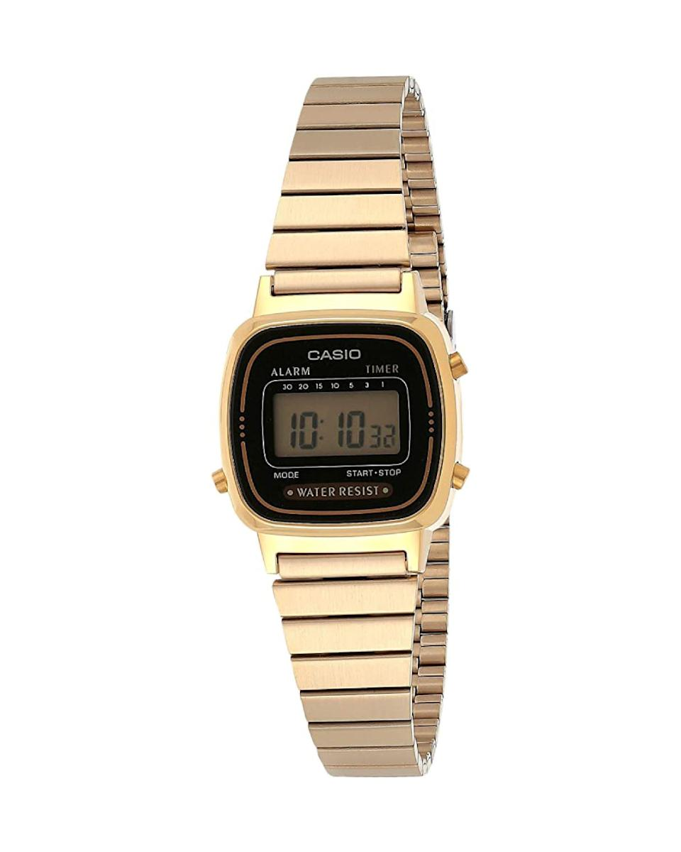 "<p><strong>Casio</strong></p><p>amazon.com</p><p><strong>$27.96</strong></p><p><a href=""https://www.amazon.com/dp/B003BJFQW4?tag=syn-yahoo-20&ascsubtag=%5Bartid%7C10058.g.3961%5Bsrc%7Cyahoo-us"" rel=""nofollow noopener"" target=""_blank"" data-ylk=""slk:Shop Now"" class=""link rapid-noclick-resp"">Shop Now</a></p><p>Who needs an Apple watch when you can have this '80s gem, complete with an alarm, stopwatch, and perpetual calendar?</p>"