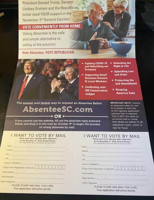 """The mailer includes handy postcards that state """"I Want To Vote By Mail."""" (Photo: South Carolina GOP mailer)"""