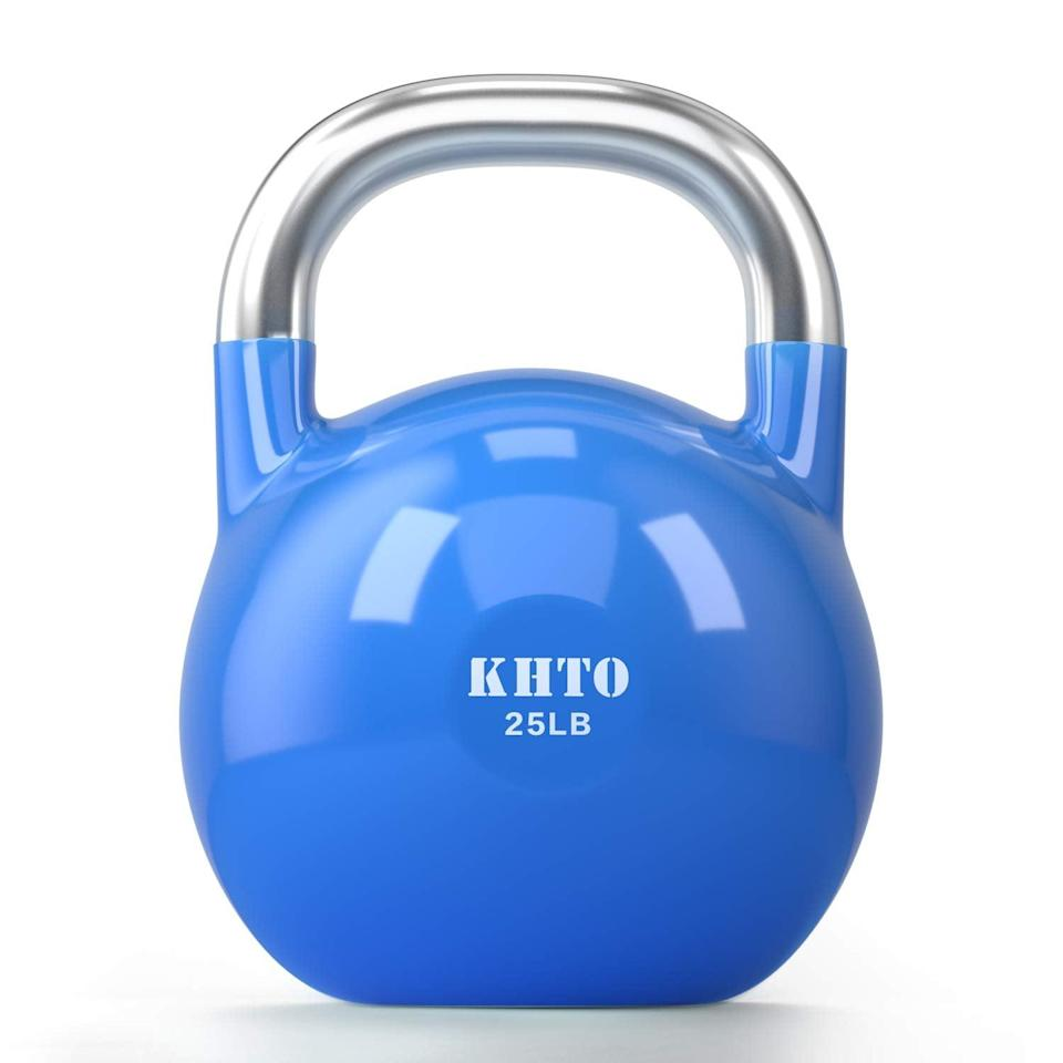 """<br><br><strong>KHTO</strong> Kettle Bells, 25LB, $, available at <a href=""""https://amzn.to/314iXI4"""" rel=""""nofollow noopener"""" target=""""_blank"""" data-ylk=""""slk:Amazon"""" class=""""link rapid-noclick-resp"""">Amazon</a>"""