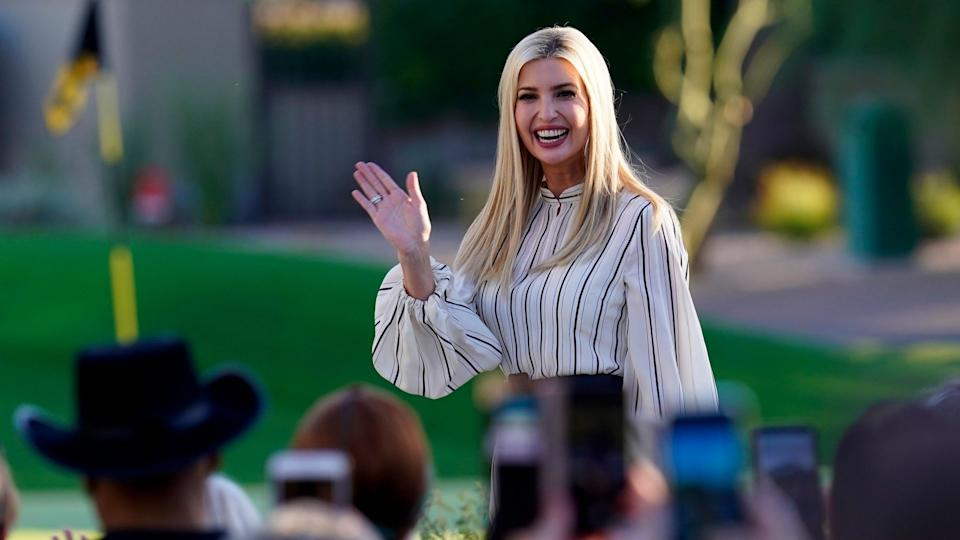 Mandatory Credit: Photo by Ross D Franklin/AP/Shutterstock (10950243a)Ivanka Trump, daughter and adviser to President Donald Trump, waves to supporters as she arrives to speak at a campaign event, in Paradise Valley, ArizElection 2020 Arizona, Paradise Valley, United States - 11 Oct 2020.