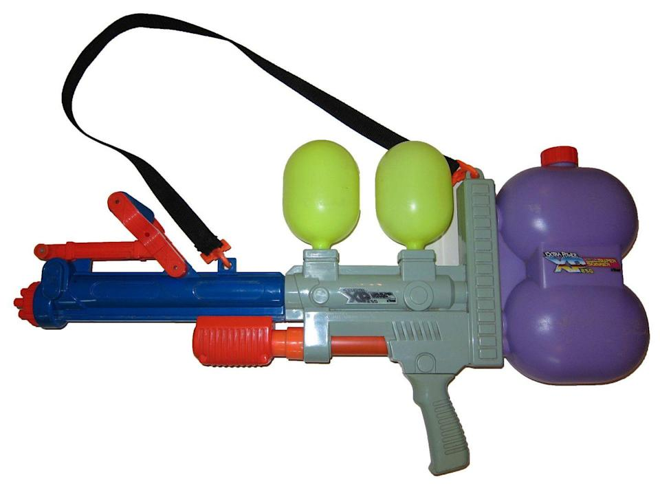 """<p>Super Soakers took water fights to the next level, and these vibrantly-colored aqua guns are still in high demand. <a href=""""https://go.redirectingat.com?id=74968X1596630&url=http%3A%2F%2Fwww.ebay.com%2Fitm%2FVintage-Super-Soaker-XP-250-Extra-Power-250-1993-Larami-Corp-Water-Gun-Toy-%2F111784893104%3Fhash%3Ditem1a06e61ab0%253Ag%253AxfMAAOSwFnFWCwtz&sref=https%3A%2F%2Fwww.countryliving.com%2Fshopping%2Fantiques%2Fg3141%2Fmost-valuable-toys-from-childhood%2F"""" rel=""""nofollow noopener"""" target=""""_blank"""" data-ylk=""""slk:Models like this one"""" class=""""link rapid-noclick-resp"""">Models like this one</a> from the 1990s start around $150, and can go for as much as $500 in mint condition.</p>"""