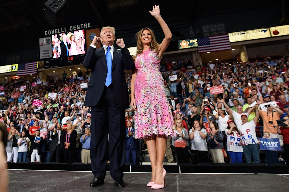 President Donald Trump arrives with first lady Melania Trump for a rally at the Covelli Centre in Youngstown, Ohio. The rally coincides with the Senates vote on GOP legislation to repeal and replace the Affordable Care Act.