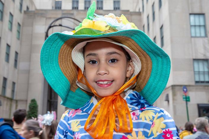 A costumed reveler during the Easter Parade and Bonnet Festival, Sunday, April 21, 2019, in New York. (Photo: Gordon Donovan/Yahoo News)