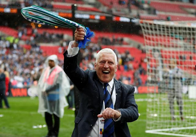 Soccer Football - National League Promotion Final - Tranmere Rovers v Boreham Wood - Wembley Stadium, London, Britain - May 12, 2018 Tranmere Rovers chairman Mark Palios celebrates at the end of the match Action Images/Matthew Childs