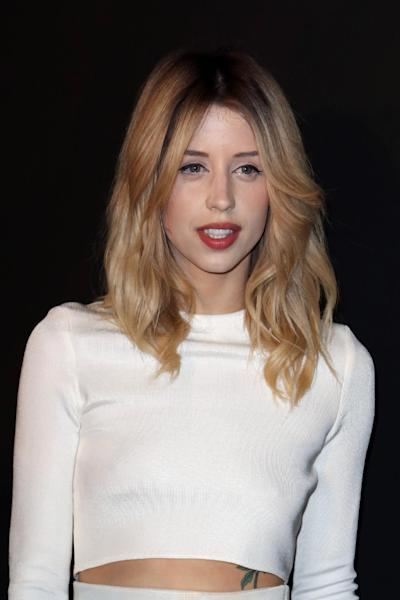 FILE - In this Tuesday, Feb. 25, 2014 file photo Peaches Geldof arrives to attend the ETAM's ready to wear fall/winter 2014-2015 fashion collection presented in Paris. Entertainer Bob Geldof's agent says his 25-year-old daughter Peaches has died. (AP Photo/C. d'Ettorre, File)