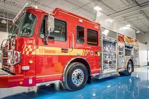 A Dependable fire truck equipped with Volta Power Systems. One of a 16-truck contract with Toronto Fire Services, the truck can support all critical electrical needs for hours without idling.