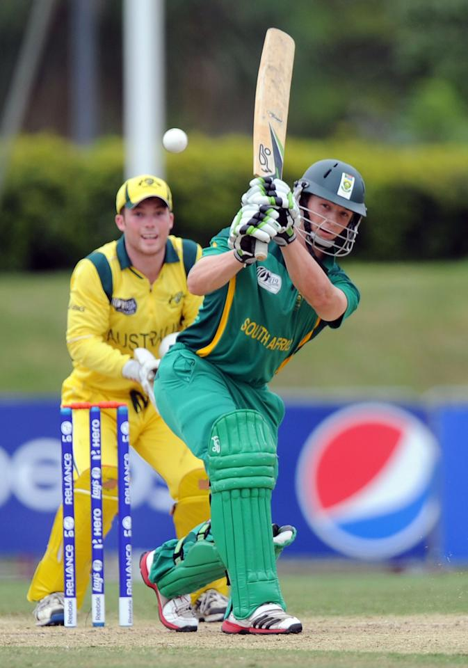 TOWNSVILLE, AUSTRALIA - AUGUST 21:  Murray Coetzee of South Africa plays a shot during the ICC U19 Cricket World Cup 2012 Semi Final match between Australia and South Africa at Tony Ireland Stadium on August 21, 2012 in Townsville, Australia.  (Photo by Malcolm Fairclough-ICC/Getty Images)