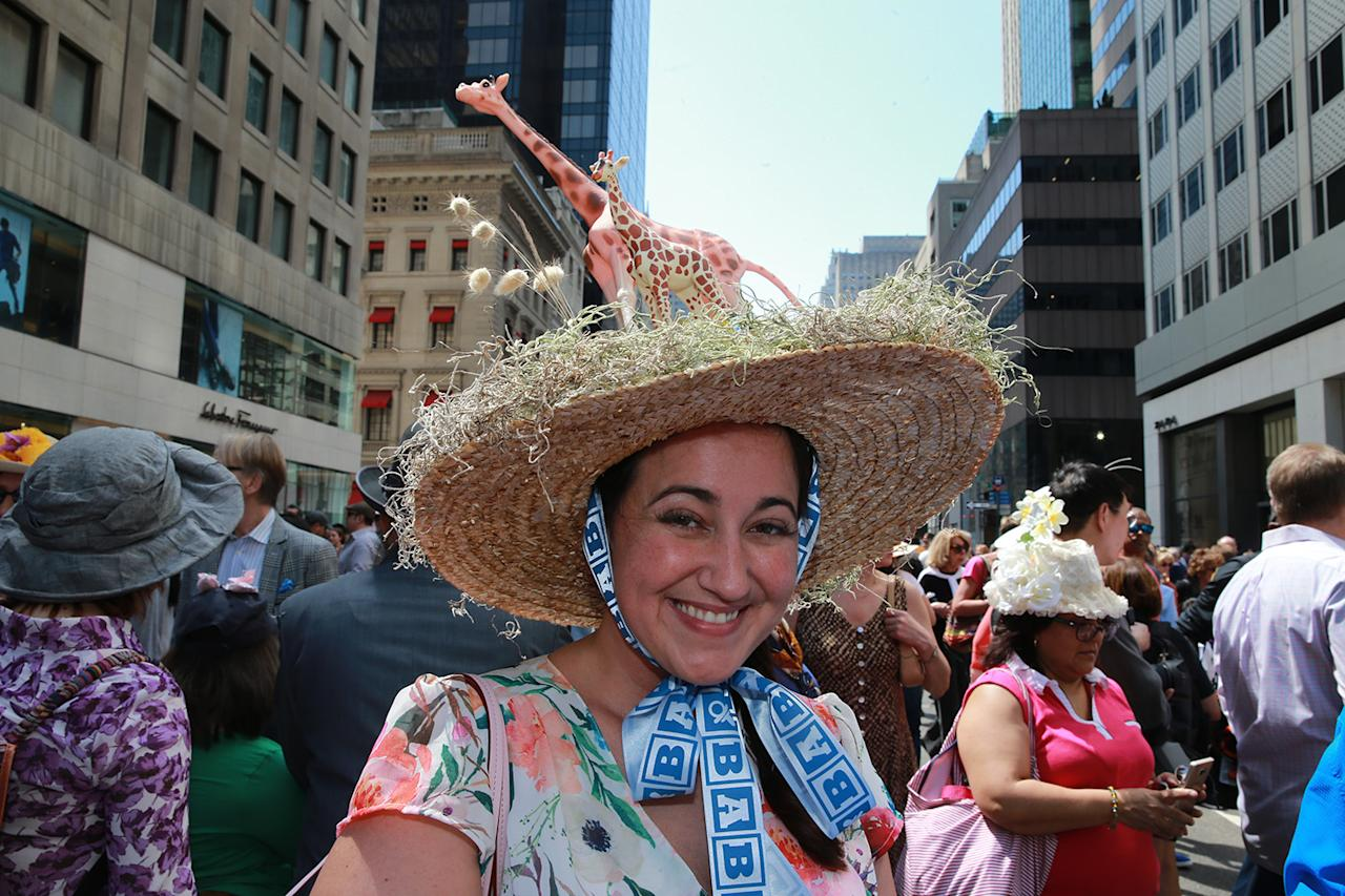 <p>Former Long Island resident, Brittany Turner of Shreveport La., wears a giraffe bonnet during the 2017 New York City Easter Parade on April 16, 2017. (Photo: Gordon Donovan/Yahoo News) </p>