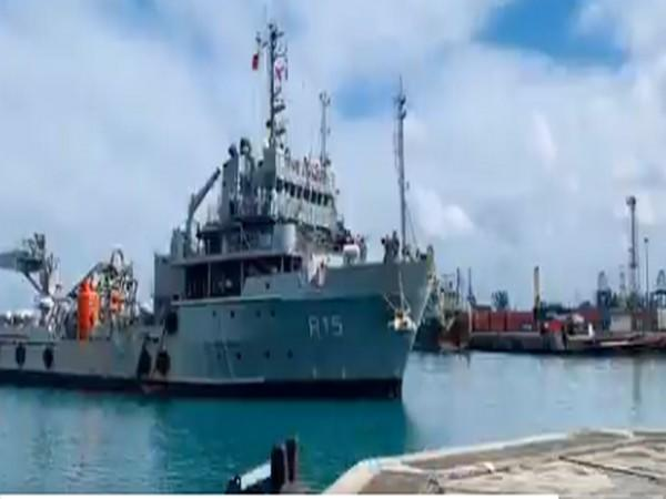 INS Nireekshak at Port Louis in Mauritius. (Photo credit: Indian Navy twitter)