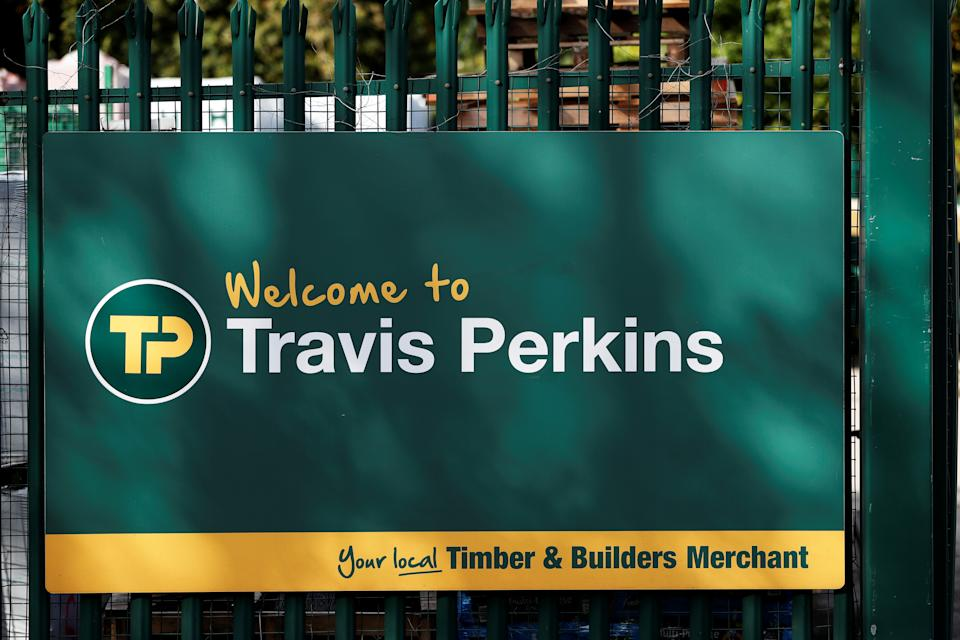 A signage is pictured at Travis Perkins, a timber and building merchants yard in St Albans, Britain October 22, 2020. REUTERS/Paul Childs