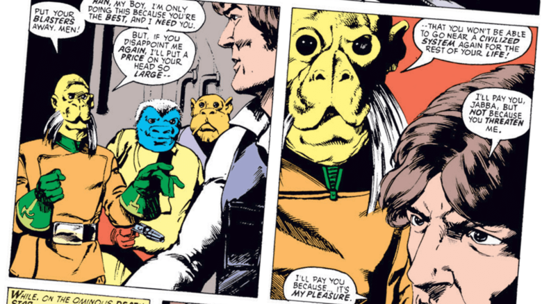 The original Marvel Comics version of Jabba the Hutt was a yellow alien with very impressive facial hair.