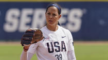 FILE - USA Softball pitcher Cat Osterman pitches in an exhibition softball game against USSSA Pride in Oklahoma City, Okla., in this Friday, June 4, 2021, file photo. U.S. coach Ken Eriksen predicts tight competition in softball as the sport returns to the Olympics for the first time since 2008. The 15-woman U.S. roster includes 38-year-old left-hander Cat Osterman, the last holdover from the 2004 gold medal-winning team, and 35-year-old left-hander Monica Abbott, who joined Osterman on the 2008 team. (AP Photo/Sue Ogrocki, File)