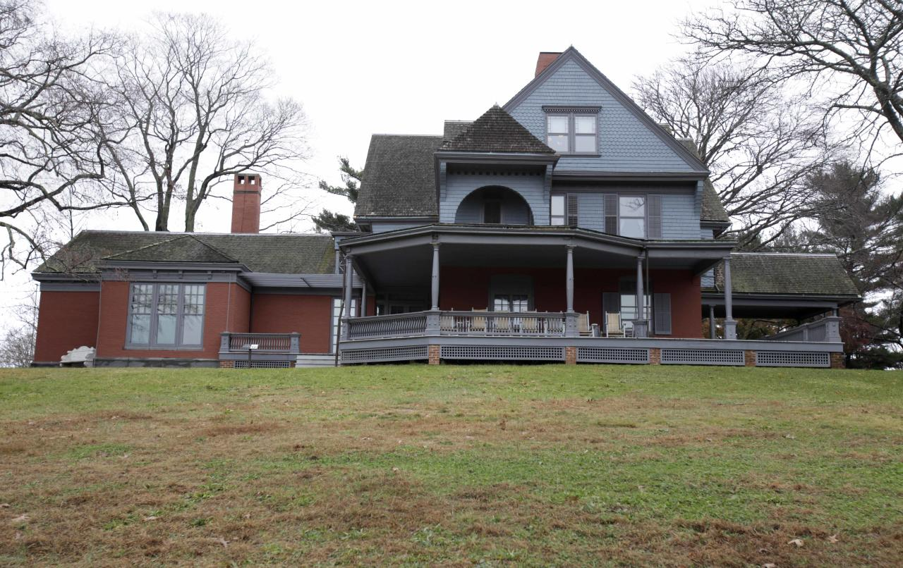 In this Nov. 23, 2011 photo, Sagamore Hill, which former President Theodore Roosevelt called home until his death in 1919, is seen in Oyster Bay, N.Y. The entire contents of the house are being packed up and put in storage because the National Parks Service is preparing for a three-year, $6.2 million renovation of the 28-room Queen Anne shingle-style mansion on the north shore of Long Island. (AP Photo/Seth Wenig)