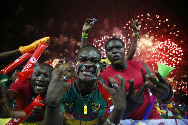 Football Soccer - African Cup of Nations - Final - Egypt v Cameroon - Stade d'Angondjé - Libreville, Gabon - 5/2/17 Cameroon fans before the match Reuters / Mike Hutchings Livepic