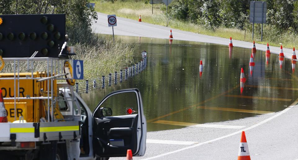 Floodwater on Nelson Bay Road in Salamander Bay, Port Stephens, NSW, Saturday, March 27, 2021.