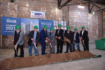 West New York Mayor Gabriel Rodriguez (third from the left), Senator Bob Menendez (fifth from left) and Glenn LaMattina (sixth from the left) of NRIA were joined by stakeholders for the ceremonial ground breaking at The Station today.