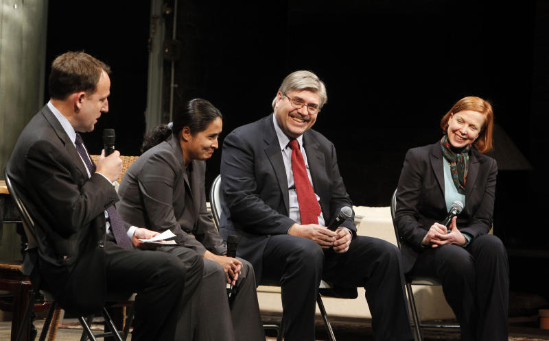 Associated Press journalists, from left, director of photography Santiago Lyon, staff photographer Julie Jacobson, senior managing editor John Daniszewski and Washington correspondent Kimberly Dozier participate in a panel discussion following a performance of the play Time Stands Still at the Cort Theatre, Tuesday, Dec. 7, 2010 in New York. (AP Photo/Jason DeCrow)