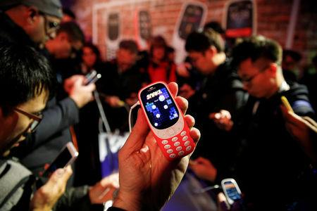 FILE PHOTO: Nokia 3310 device is displayed after its presentation ceremony at Mobile World Congress in Barcelona, Spain, February 26, 2017. REUTERS/Paul Hanna/File Photo