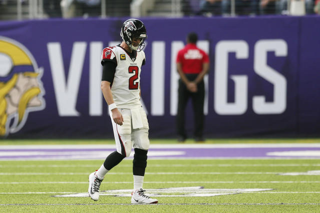 Atlanta Falcons quarterback Matt Ryan walks to the sideline during the first half of an NFL football game against the Minnesota Vikings, Sunday, Sept. 8, 2019, in Minneapolis. (AP Photo/Jim Mone)