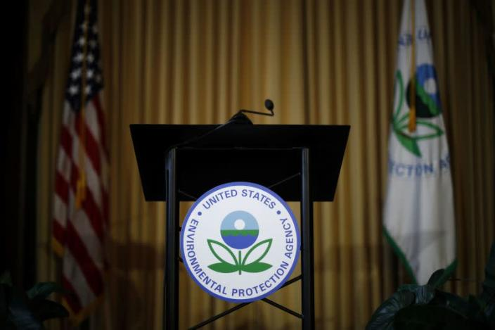 Podium awaits the arrival of U.S. EPA Acting Administrator Andrew Wheeler to address staff at EPA Headquarters in Washington