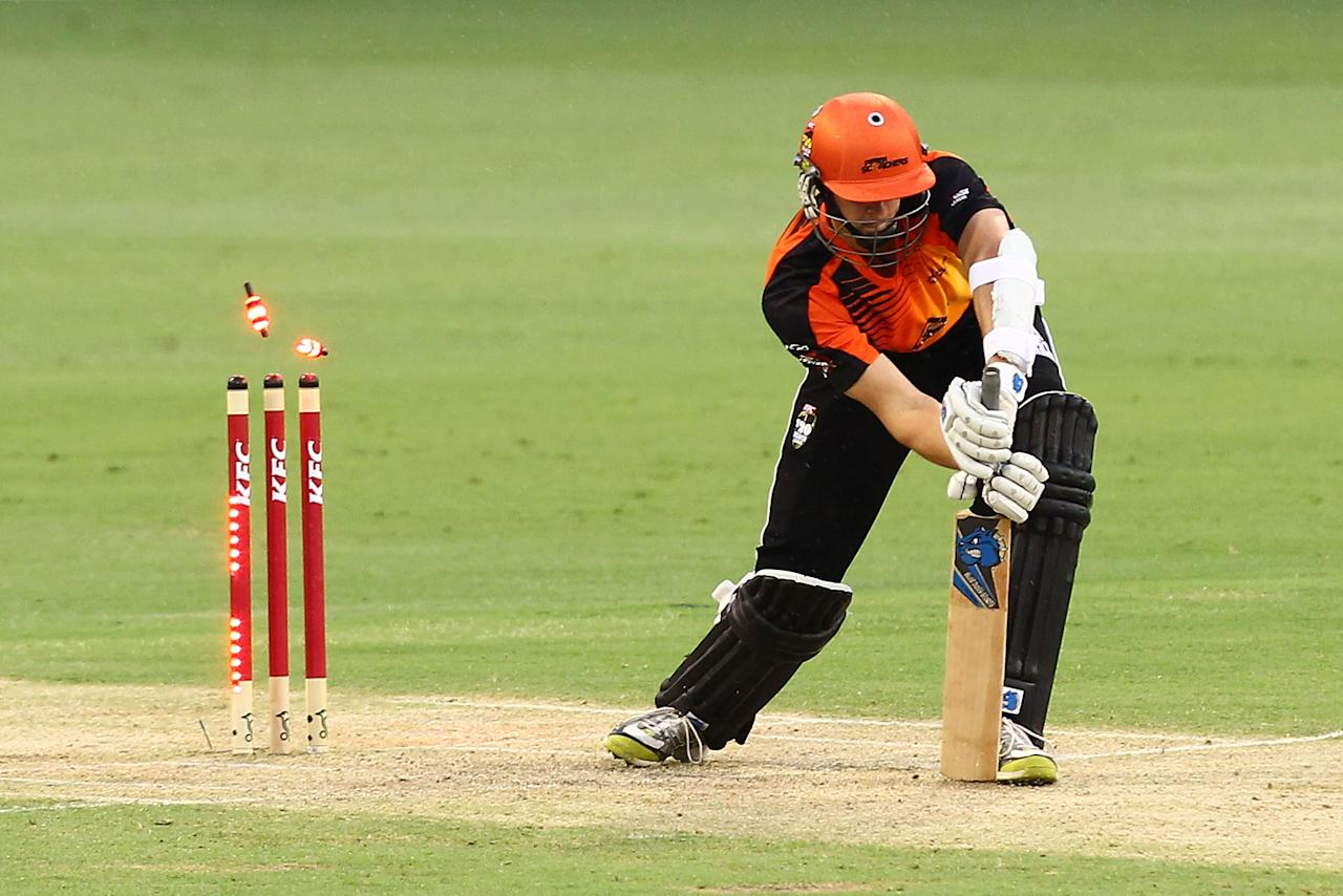 PERTH, AUSTRALIA - DECEMBER 12: Joe Mennie is out LBW off a bowl by Lasith Malinga of the Stars during the Big Bash League match between the Perth Scorchers and the Melbourne Stars at WACA on December 12, 2012 in Perth, Australia.  (Photo by Will Russell/Getty Images)
