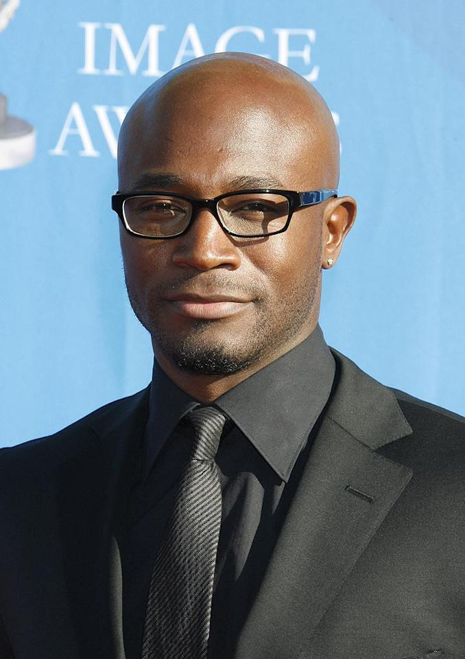 """We dig Taye Diggs' chrome dome and glasses. Jeffrey Mayer/<a href=""""http://www.wireimage.com"""" target=""""new"""">WireImage.com</a> - February 14, 2008"""