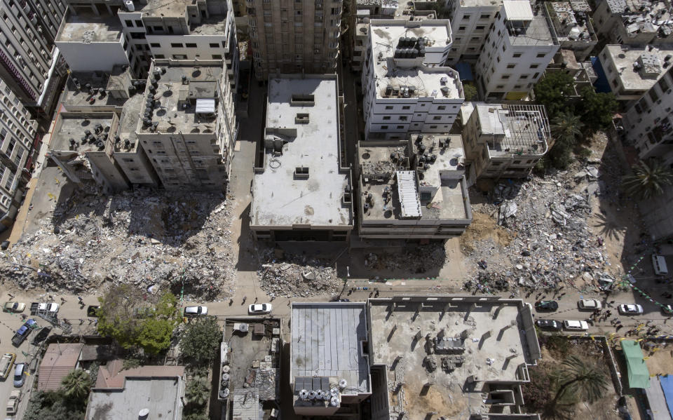 An aerial view of the destroyed buildings where several people were killed after they were hit last week by Israeli airstrikes, in Gaza City, Saturday, May 22, 2021.(AP Photo/Khalil Hamra)