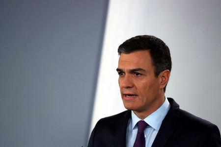Spain's Prime Minister Pedro Sanchez delivers a statement on the political crisis in Venezuela at the Moncloa Palace in Madrid