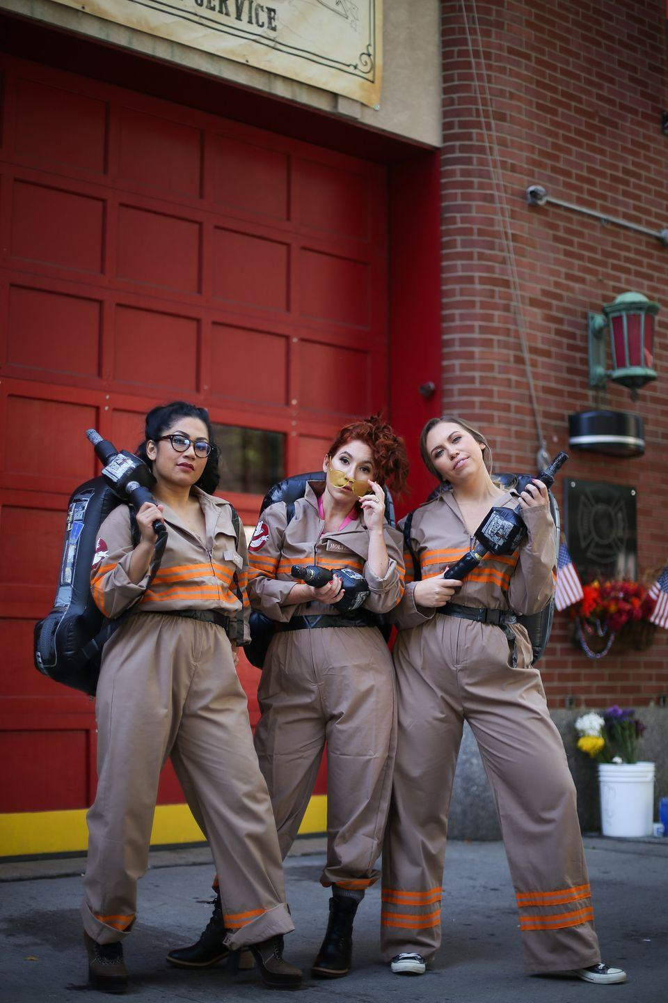"""<p>C'mon! Who ya gonna call? You and your pals will be ready to tackle any slimy, scary ghosts on the block with these costumes. </p><p><strong>Get the tutorial at </strong><strong><a href=""""http://livingaftermidnite.com/2019/10/group-halloween-costumes-that-will-win-you-best-dressed.html"""" rel=""""nofollow noopener"""" target=""""_blank"""" data-ylk=""""slk:Living after Midnite"""" class=""""link rapid-noclick-resp"""">Living after Midnite</a>.</strong></p><p><a class=""""link rapid-noclick-resp"""" href=""""https://www.amazon.com/Kolossus-Cotton-Blend-Sleeve-Coverall/dp/B07BK8S16J/ref=sr_1_5?dchild=1&keywords=tan+jumpsuits&qid=1591987705&sr=8-5&tag=syn-yahoo-20&ascsubtag=%5Bartid%7C10050.g.21349110%5Bsrc%7Cyahoo-us"""" rel=""""nofollow noopener"""" target=""""_blank"""" data-ylk=""""slk:SHOP TAN JUMPSUITS"""">SHOP TAN JUMPSUITS</a></p>"""