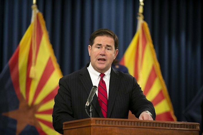March 22, 2021; Phoenix, AZ, USA;  Governor Doug Ducey speaks at the 2021 Wildfire Season Outlook Briefing at the Arizona State Capitol on March 22, 2021. Credit: Meg Potter/The Arizona Republic