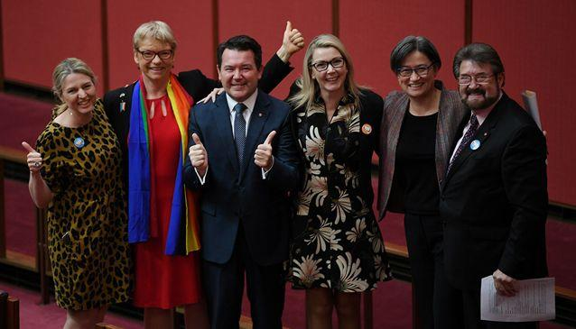 The same-sex marriage bill has been introduced to the parliament by Liberal Senator Dean Smith (third from left). Source: AAP