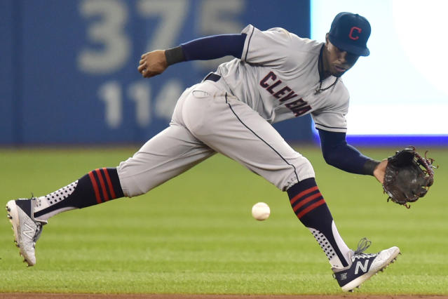 Cleveland Indians shortstop Francisco Lindor fields a grounder by Toronto Blue Jays' Billy McKinney, who was out at first during the fourth inning of a baseball game Friday, Sept. 7, 2018, in Toronto. (Frank Gunn/The Canadian Press via AP)