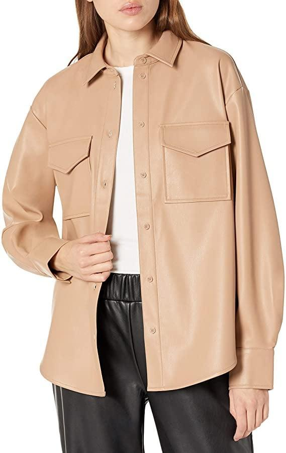 <p>Elevate your look with this sleek <span>The Drop-Faux Leather Long Shirt Jacket</span> ($60).</p>