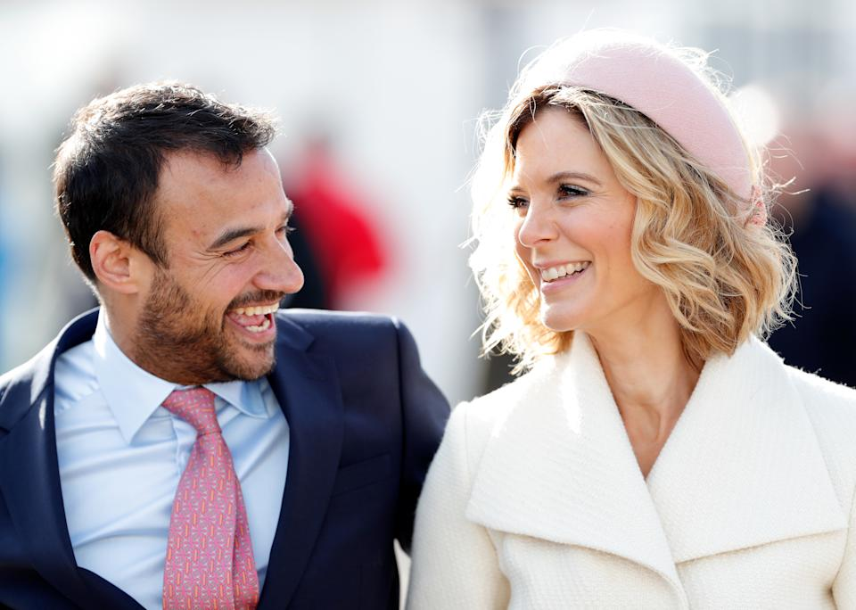 CHELTENHAM, UNITED KINGDOM - MARCH 12: (EMBARGOED FOR PUBLICATION IN UK NEWSPAPERS UNTIL 24 HOURS AFTER CREATE DATE AND TIME) Luc Chaudhary and Emilia Fox attend day 3 'St Patrick's Thursday' of the Cheltenham Festival 2020 at Cheltenham Racecourse on March 12, 2020 in Cheltenham, England. (Photo by Max Mumby/Indigo/Getty Images)