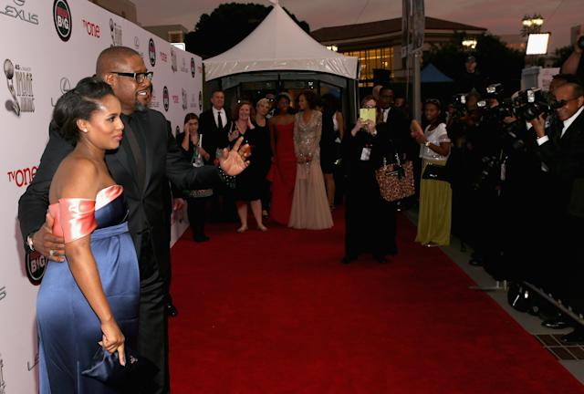 PASADENA, CA - FEBRUARY 22: Actress Kerry Washington and actor Forest Whitaker attend the 45th NAACP Image Awards presented by TV One at Pasadena Civic Auditorium on February 22, 2014 in Pasadena, California. (Photo by Jesse Grant/Getty Images for NAACP Image Awards)