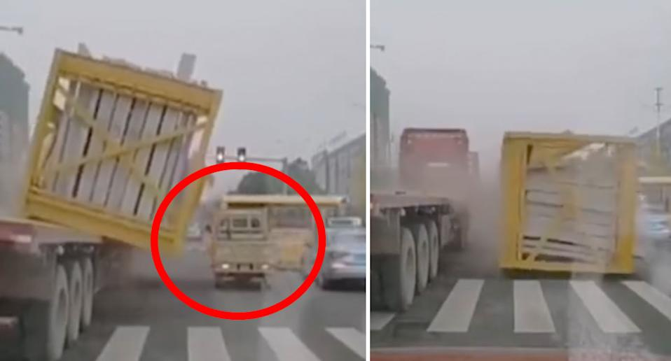 The truck's load flattened the small vehicle in Zhangjiajie. source: Whirlpool Video