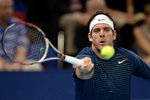 Argentina's Juan Martin Del Potro returns a ball to France's Edouard Roger-Vasselin during their semifinal match at the Swiss Indoors tennis tournament in Basel, Switzerland, on Saturday, Oct. 26, 2013. (AP Photo/Keystone,Georgios Kefalas)