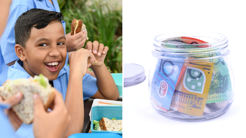 Pictured: Happy Australian school boy eats lunch, Australian cash savings in jar. Concept: back to school savings tips. Images: Getty