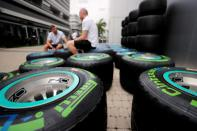 FILE PHOTO: General view of mechanics and Pirelli tyres