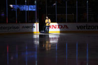 Country music star Keith Urban sings the national anthem before Game 3 of an NHL hockey Stanley Cup first-round playoff series between the Nashville Predators and the Carolina Hurricanes Friday, May 21, 2021, in Nashville, Tenn. (AP Photo/Mark Humphrey)