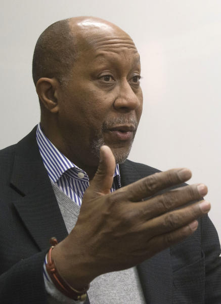United States Trade Representative, Ron Kirk, gestures as he speaks during an interview with The Associated Press at the World Economic Forum, WEF, in Davos, Switzerland, Saturday, Jan. 26, 2013. (AP Photo/Michel Euler)