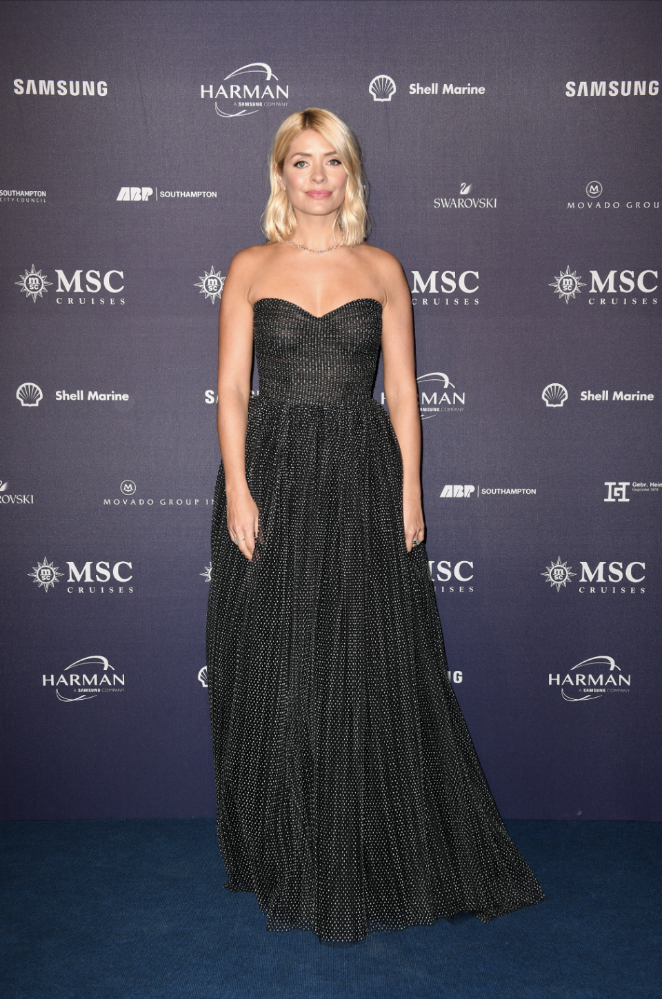 <p>The television presenter wore a spotted gown by Filipino-American designer Monique Lhillier to attend the MSC Cruises' naming ceremony for their newest ship, the Bellisima, in Southampton.<em>[Photo: Getty]</em> </p>