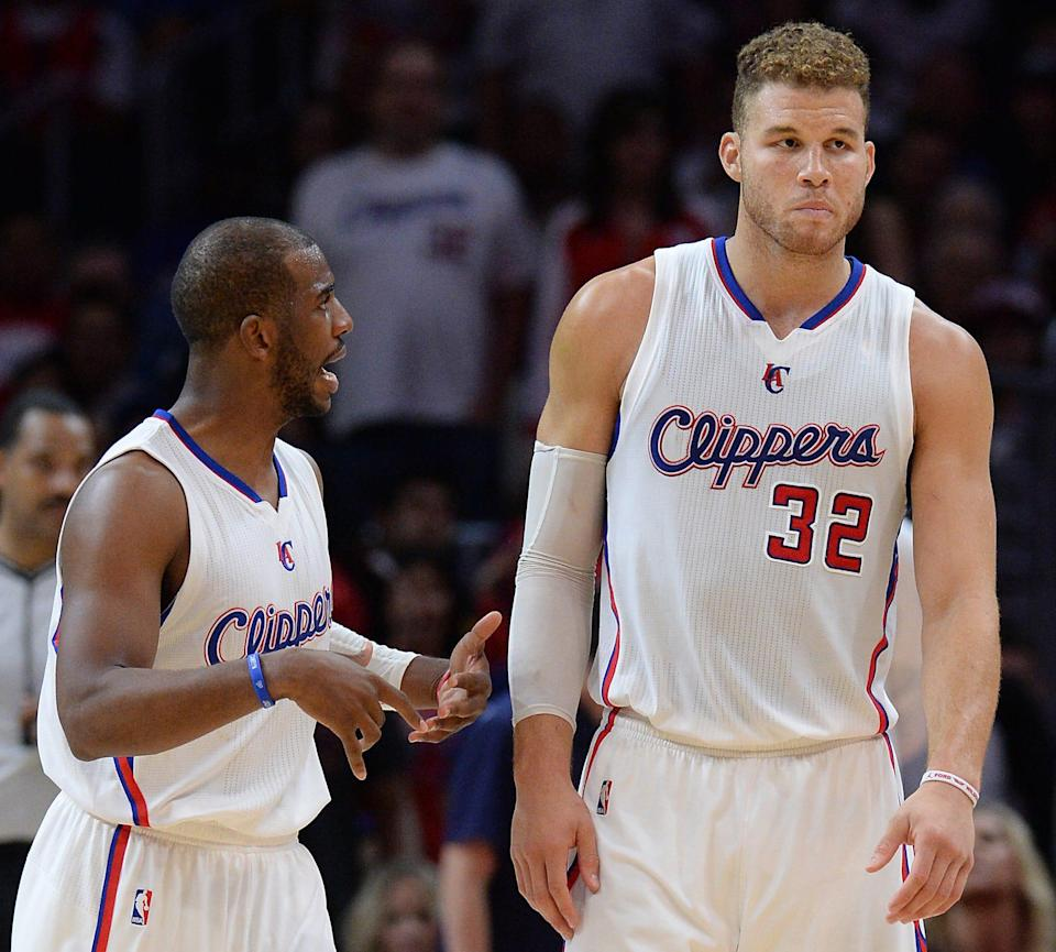 Apr 13, 2015; Los Angeles, CA, USA;  Los Angeles Clippers guard Chris Paul (3) talks with forward Blake Griffin (32) in the second half of the game against the Denver Nuggets at Staples Center. Clippers won 110-103. Mandatory Credit: Jayne Kamin-Oncea-USA TODAY Sports ORG XMIT: USATSI-188658 ORIG FILE ID:  20150413_ajw_aj4_385.jpg