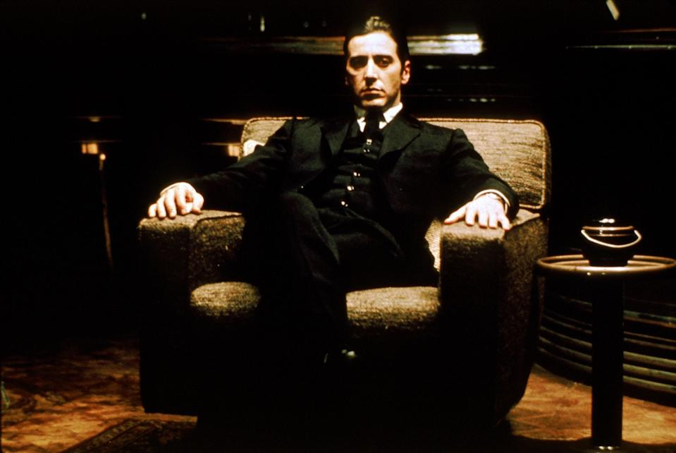 "Al Pacino had long-ish hair as Michael Corleone, the youngest son in the Corleone crime family, in ""The Godfather."""