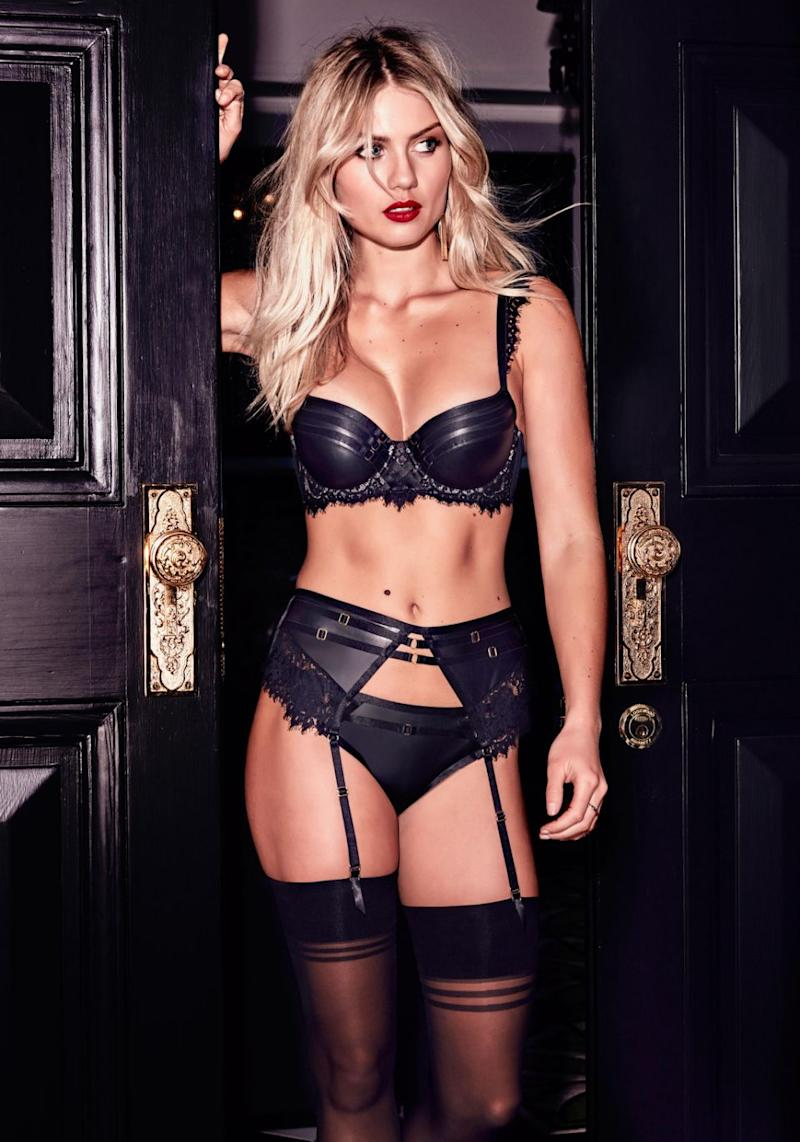 She wears a black bra with the ultimate boost and a pair of skimpy briefs with sultry cut-outs. Source: Bras N Things