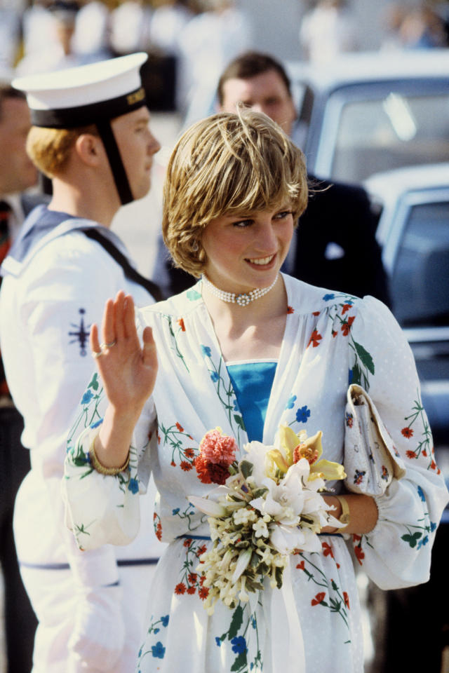 <p>Princess Diana received her first piece of jewelry on her 18th birthday — a pearl choker with turquoise stones at the center. In 1984, decided to have the gems exchanged for pearls so that she would never have to worry about showing the clasp at the back. Here, the princess is pictured wearing the necklace on her honeymoon. (Photo: PA) </p>
