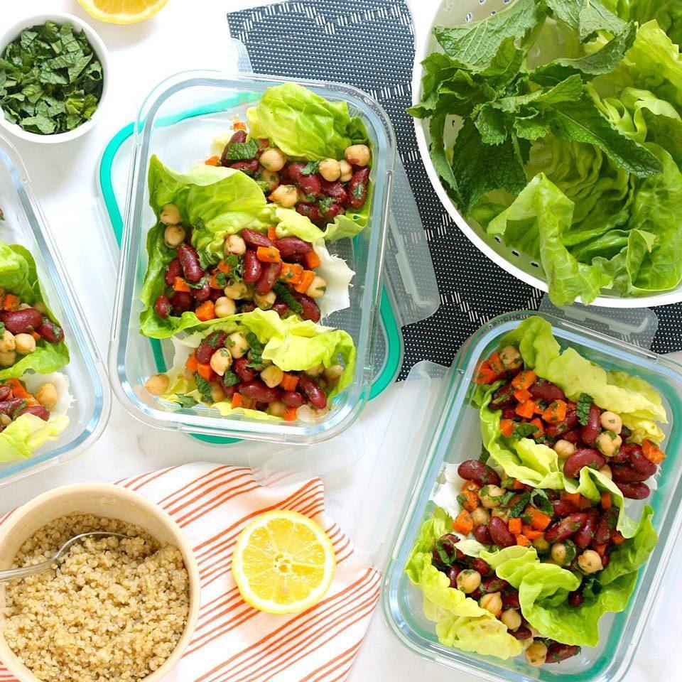 """<p>For these meal-prep-friendly lettuce wraps, we swap the traditional warm filling for a cold plant-based bean salad filling loaded with fresh herbs and lemon. Topping each lettuce leaf with a little quinoa before adding the filling helps to keep the lettuce from getting soggy. <a href=""""https://www.eatingwell.com/recipe/274219/meal-prep-vegan-moroccan-lettuce-wraps/"""" rel=""""nofollow noopener"""" target=""""_blank"""" data-ylk=""""slk:View Recipe"""" class=""""link rapid-noclick-resp"""">View Recipe</a></p>"""