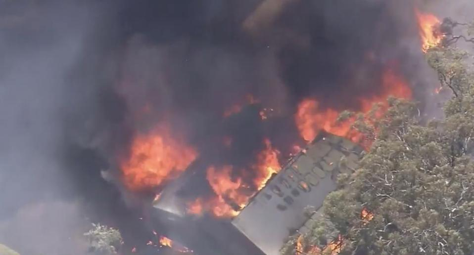 One property ablaze in the fire. Source: Nine
