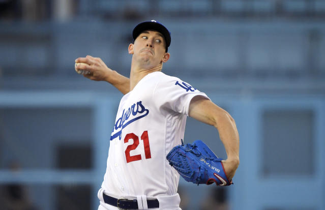Los Angeles Dodgers starting pitcher Walker Buehler throws to the plate during the first inning of a baseball game against the Arizona Diamondbacks, Friday, Aug. 9, 2019, in Los Angeles. (AP Photo/Mark J. Terrill)