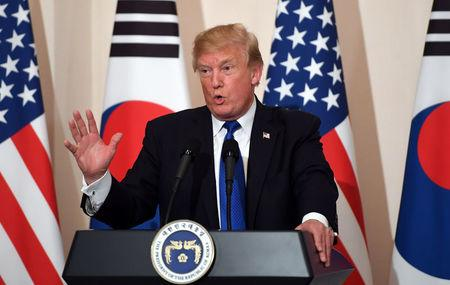 U.S. President Trump holds a joint press conference in Seoul